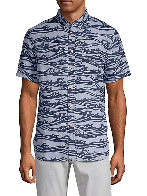 SURF SIDE SUPPLY Wave-Print Linen Button-Down Shirt in Dusty Blue