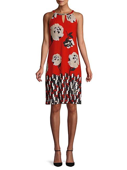 Floral-Print Sleeveless Knee-Length Dress