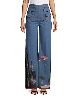 Graphic Wide-Leg Jeans