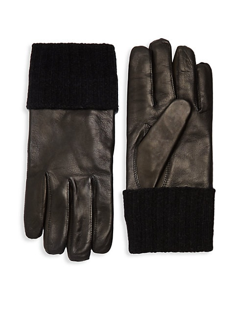 Ribbed Cuff Leather Gloves