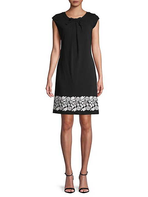 Embroidered Capsleeve Dress