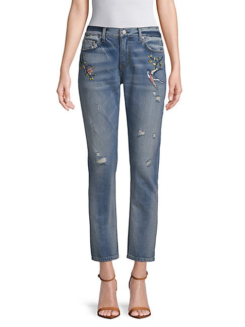 EI8HT DREAMS | Embroidered Boyfriend Jeans | Goxip