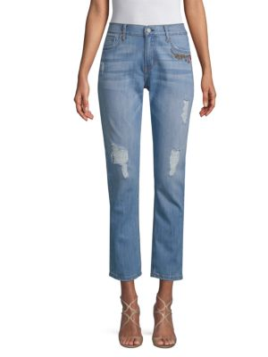 EI8HT DREAMS Embroidered Floral Jeans in Destroyed