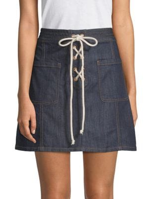 EI8HT DREAMS Lace-Up Denim Skirt in Resin Rinse