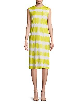 C&C CALIFORNIA Tie Dyed Knee-Length Dress in Lemon Verbina
