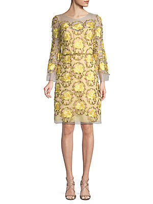 Embroidered 3D Floral A-Line Dress
