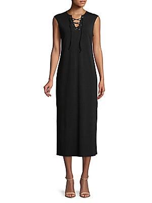 C&C CALIFORNIA Lace-Up Sleeveless Midi Dress in Black