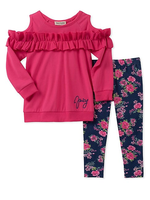 Little Girl's Two-Piece Cold-Shoulder Tunic and Floral Leggings Set