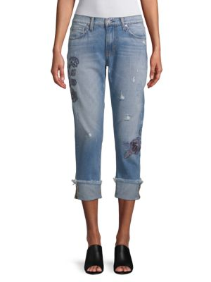EI8HT DREAMS Embroidered Folded-Cuff Jeans in Light Blue