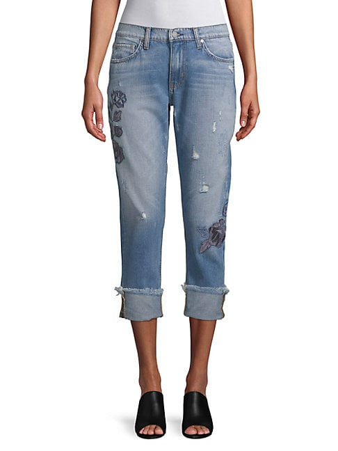 EI8HT DREAMS | Embroidered Folded-Cuff Jeans | Goxip