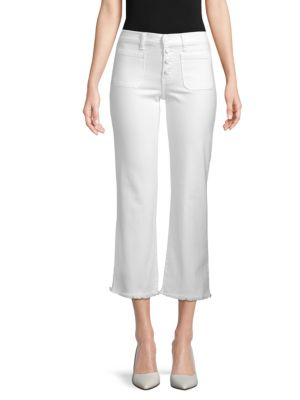 EI8HT DREAMS Flared Cropped Jeans in Optic White