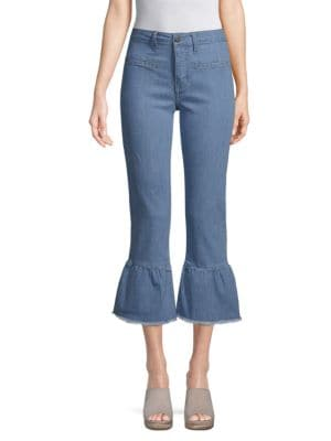 EI8HT DREAMS Flared Cuff Cropped Jeans in Light Wash