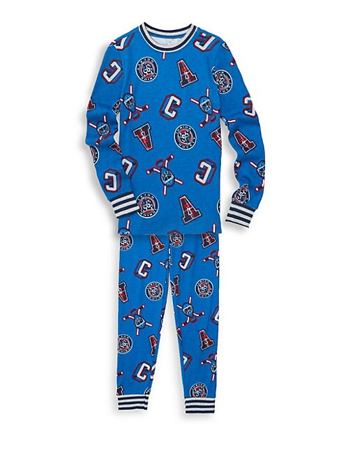 Boy's Two-Piece Hockey-Print Cotton Pajama Set
