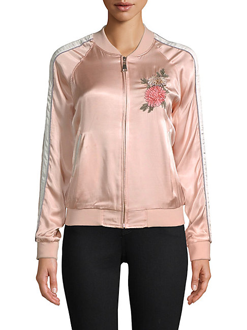 EI8HT DREAMS | Floral Embroidered Satin Bomber Jacket | Goxip