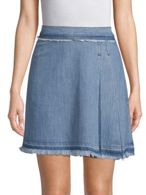 EI8HT DREAMS Pleated Denim Mini Skirt in Light Wash