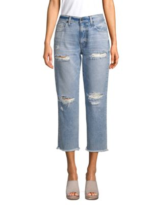 EI8HT DREAMS Cropped Distressed Jeans in Light Distressed Wash