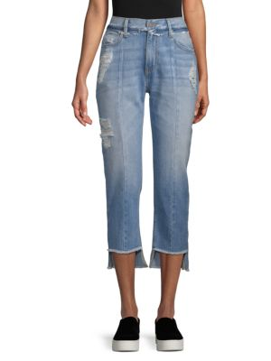 EI8HT DREAMS Distressed Slim Flare Jeans in Light Wash