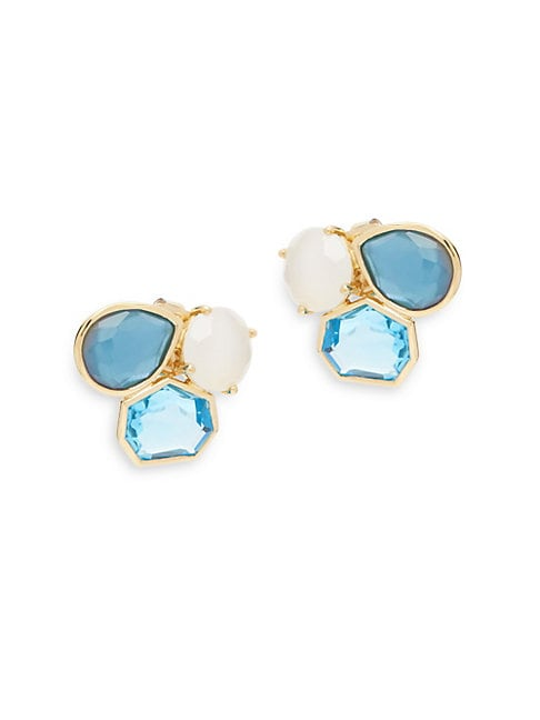 Rock Candy Semi Precious Multi-Stone and 18K Gold Raindrop Stud Earrings