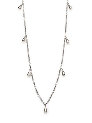GLAMAZON STERLING SILVER LONG ROSE PETAL STATION NECKLACE