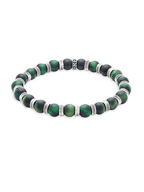 PEREPAIX | Stainless Steel & Green Tiger's Eye Beaded Bracelet | Goxip