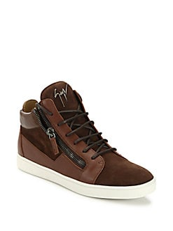 Giuseppe Zanotti - Suede & Leather Mid-Top Sneakers
