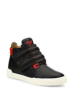Giuseppe Zanotti - Crocodile Strapped High Top Leather Sneakers