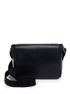 Giorgio Armani Solid Leather Messenger Bag