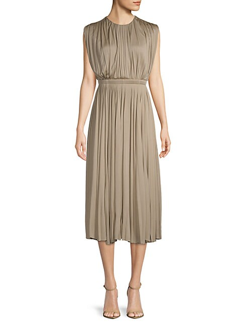 Pleated Silk Midi Dress