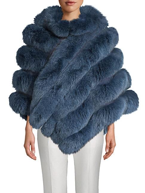 LA FIORENTINA Fox Fur Zip Poncho in Blue
