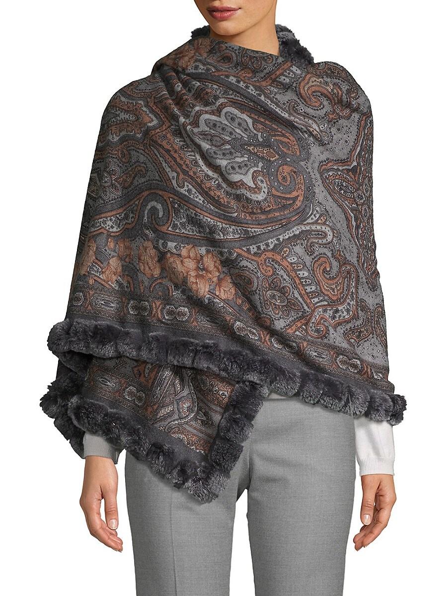 Women's Reversible Rabbit Fur-Trim Cashmere Wrap Scarf