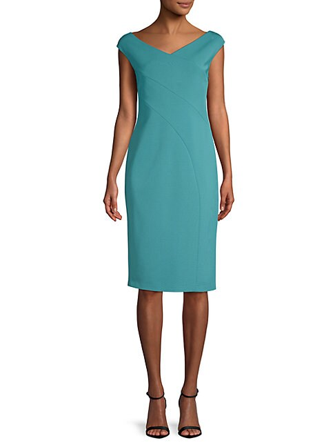 Open V-Neck Sheath Dress