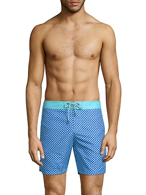 3D Box-Print Swim Shorts