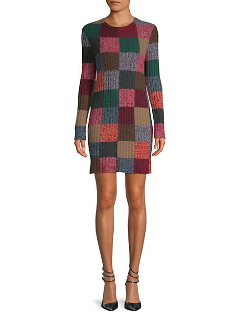 Check Cashmere & Wool Sweater Dress