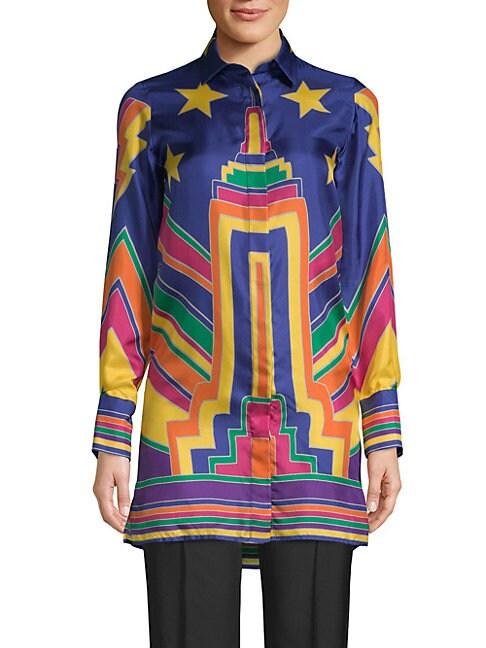 Multicolored Silk Button-Down Shirt