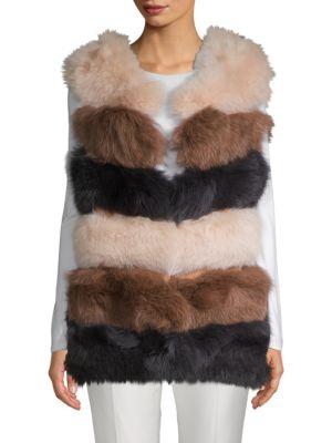 LA FIORENTINA Dyed Fox Fur Bubble Vest in Brown Camel