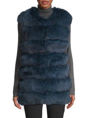 LA FIORENTINA Dyed Fox Fur Bubble Vest in Blue