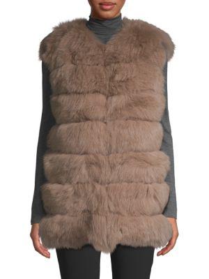 LA FIORENTINA Dyed Fox Fur Bubble Vest in Blush