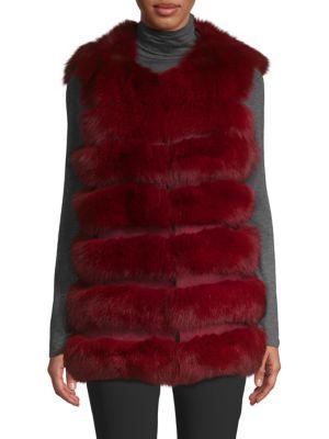 LA FIORENTINA Dyed Fox Fur Bubble Vest in Raspberry