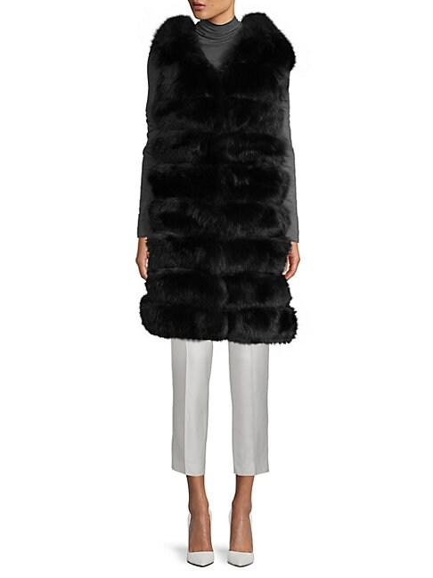 LA FIORENTINA Hooded Fox Fur Bubble Vest in Black