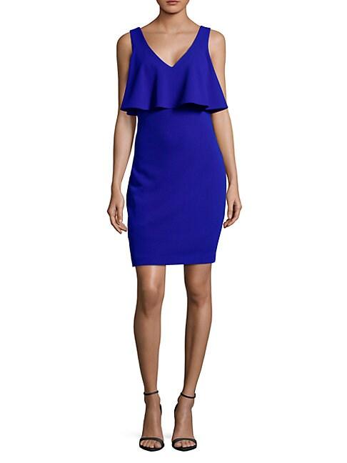 BELLE BADGLEY MISCHKA | Ruffle V-Neck Sheath Dress | Goxip