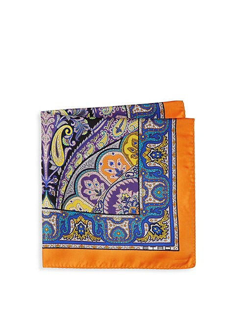 Multicolor Paisley Silk Pocket Square
