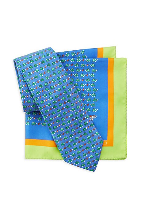 Two-Piece Turtle Silk Tie & Pocket Square Set