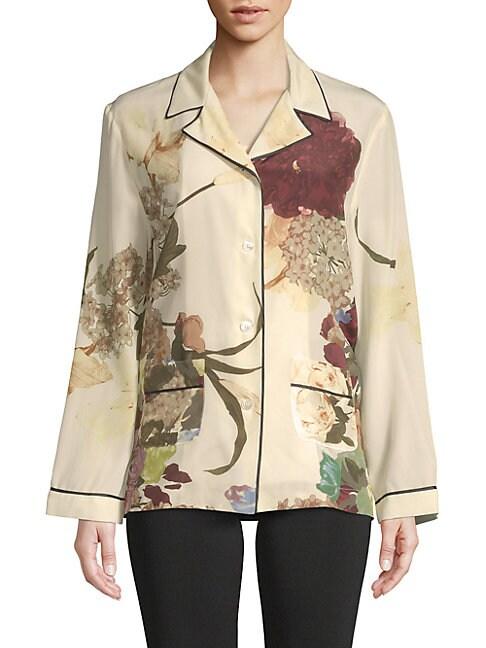 Floral Silk Button-Down Shirt