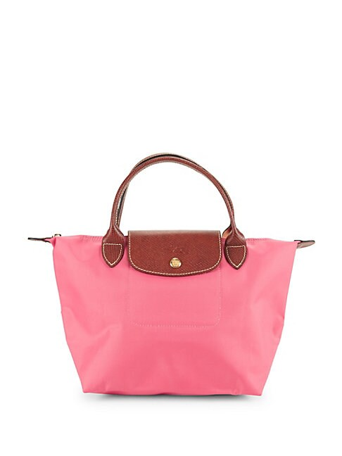 Le Pliage Metallic Logo Top Handle Bag