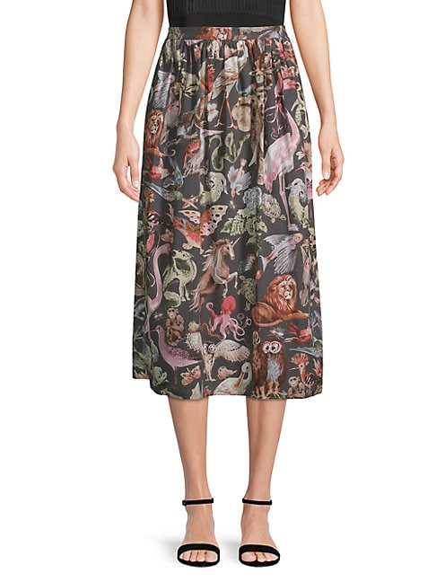Pleated Animal-Print Cotton Skirt