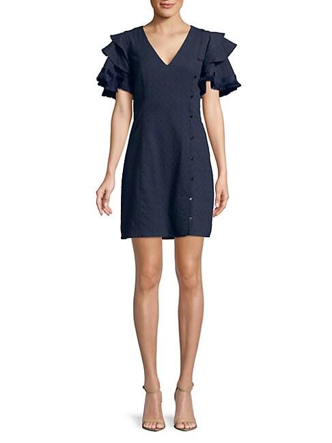 BELLE BADGLEY MISCHKA | Fringed Tiered Ruffle Sleeve Dress | Goxip