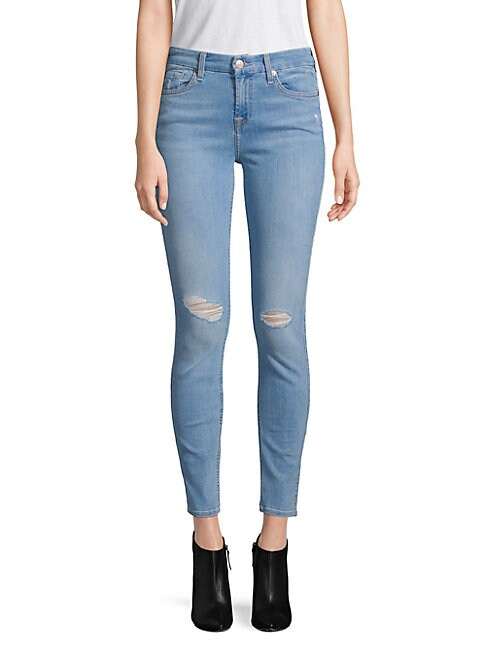 7 FOR ALL MANKIND | Ripped Ankle Skinny Jeans | Goxip
