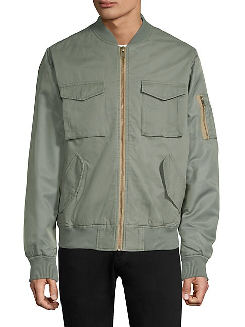 WESC Contrast Two-Tone Bomber Jacket in Dusty Green