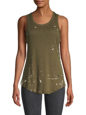 Chaser Distressed Cotton Muscle Tank Top