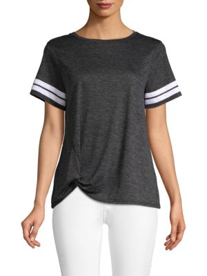 C&C CALIFORNIA Striped Knot-Front T-Shirt in Black